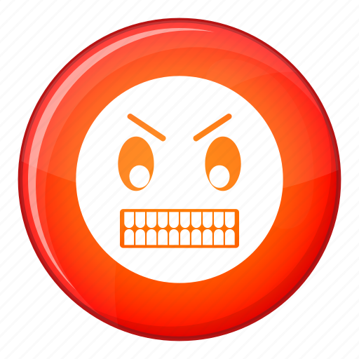angry, emoticon, expression, face, facial, negative, teeth icon