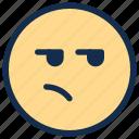 angry, bored, emoji, emoticon, emotion icon