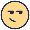 angry, bored, emoji, emoticon, emotion, smirk icon