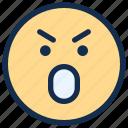 angry, emoji, emoticon, emotion, mad, surprised icon