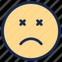 dead, emoji, emoticon, emotion, sad