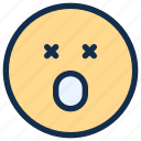 dead, emoji, emoticon, emotion, surprised icon