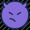 angry, bad, devil, emoji, emoticon, emotion, mad icon