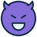 devil, emoji, emoticon, emotion, happy, smile icon