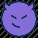 devil, emoji, emoticon, emotion, smile, smirk icon