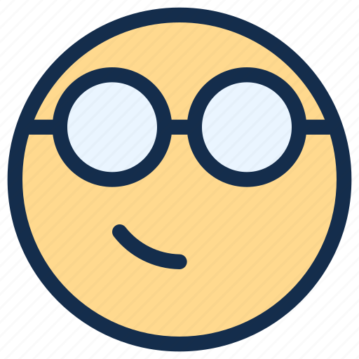Emoji, emoticon, emotion, geek, glasses, nerd, smirk icon