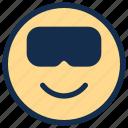 emoji, emoticon, emotion, glasses, happy, smile icon