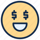 dollar, emoji, emoticon, emotion, happy, money, smile icon