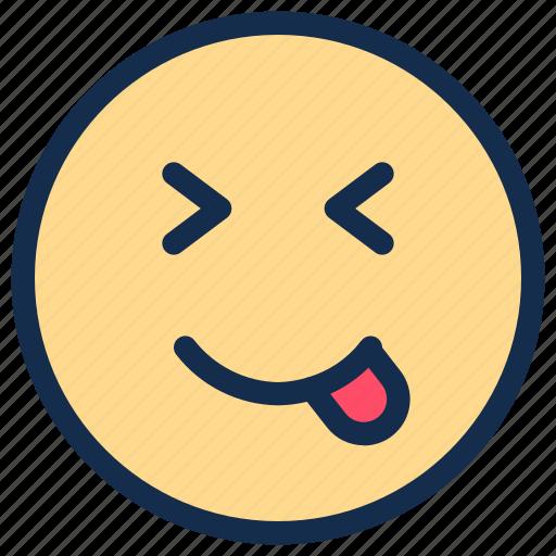 delicious, emoji, emoticon, emotion, happy, smile, tongue icon