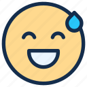 emoji, emoticon, emotion, happy, smile, sweat icon