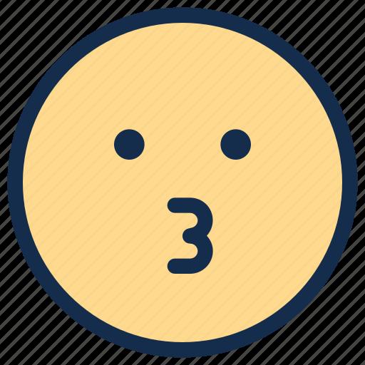emoji, emoticon, emotion, kiss icon