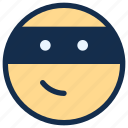 emoji, emoticon, emotion, ninja, thief icon