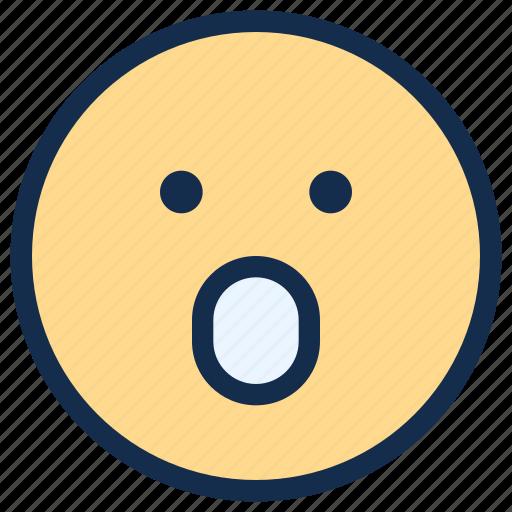 emoji, emoticon, emotion, mouth, open, surprised icon