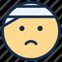bandage, emoji, emoticon, emotion, injury, pain
