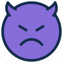 bad, devil, emoji, emoticon, emotion, mad, sad icon