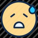 emoji, emoticon, emotion, sad, sweat icon