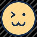 cat, emoji, emoticon, emotion, face, happy, wink icon