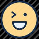 emoji, emoticon, emotion, happy, smile, wink icon