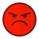 angry, emoji, emoticon, expression, mad, red, resent
