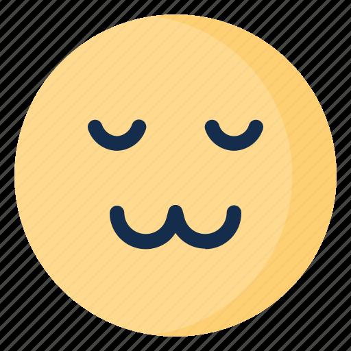 cat, emoji, emoticon, emotion, face, relieved icon