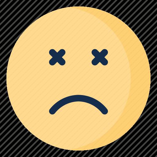 dead, emoji, emoticon, emotion, sad icon