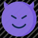devil, emoji, emoticon, emotion, smile icon