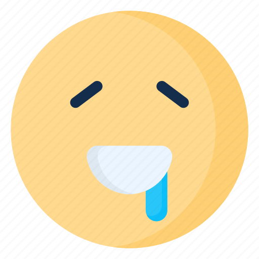 drooling, emoji, emoticon, emotion, smile icon