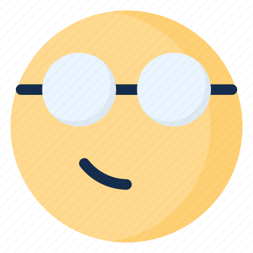 emoji, emoticon, emotion, geek, glasses, nerd, smirk icon