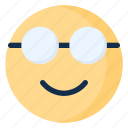 emoji, emoticon, emotion, geek, glasses, nerd icon
