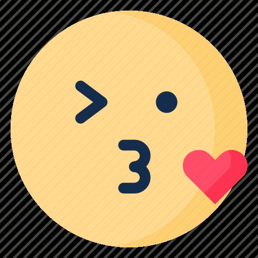 emoji, emoticon, emotion, kiss, love, wink icon