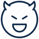 devil, emoji, emoticon, emotion, happy, smile icon