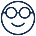 emoji, emoticon, emotion, geek, glasses, nerd icon