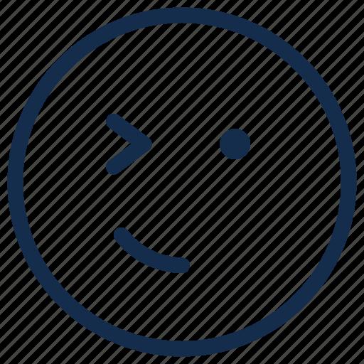 emoji, emoticon, emotion, smile, smirk, wink icon