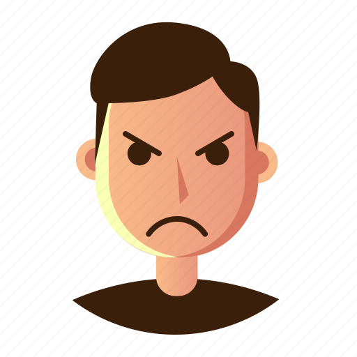 angry, avatar, emoticon, man, people, smiley, user icon