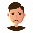 avatar, emoticon, man, people, sad, smiley, user icon