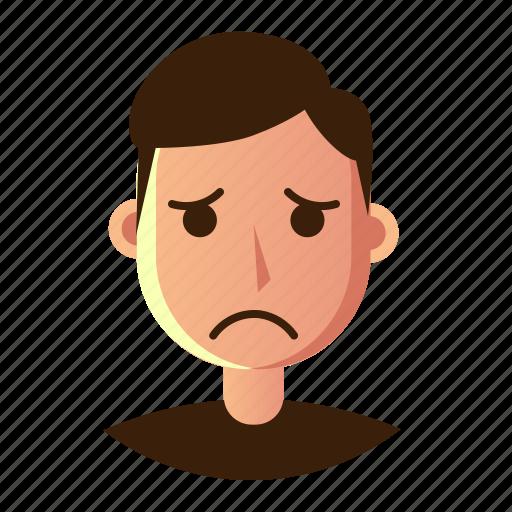 avatar, emoticon, man, people, sad, smiley, user icon