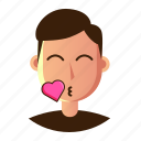 avatar, emoticon, kiss, man, people, smiley, user icon