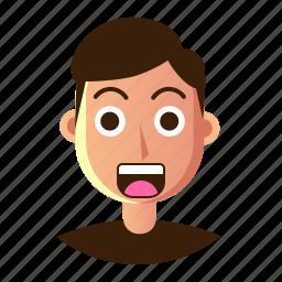 avatar, emoticon, man, people, shock, smiley, user icon