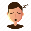 avatar, emoticon, man, people, sleepy, smile, user icon