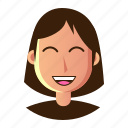 avatar, emoticon, happy, people, smiley, user, woman icon
