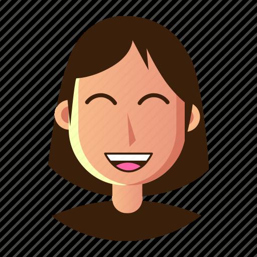 avatar, emoticon, happy, people, smiley, user, woman icon