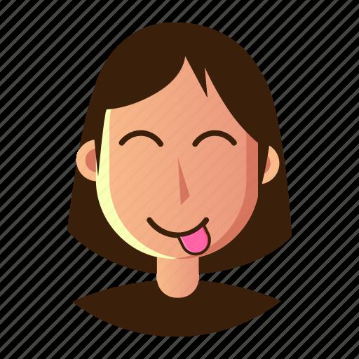 avatar, emoticon, mocking, people, smiley, user, woman icon