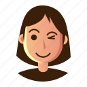 avatar, emoticon, flshing, people, smiley, user, woman icon
