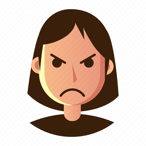 angry, avatar, emoticon, people, smiley, user, woman icon