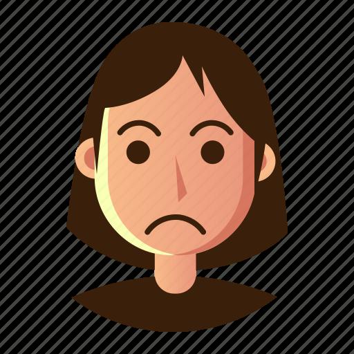 avatar, emoticon, people, sad, smiley, user, woman icon