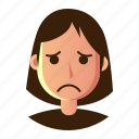 avatar, emoticon, people, sad, smiley, user, woman icon
