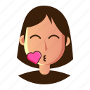 avatar, emoticon, kiss, people, smiley, user, woman icon