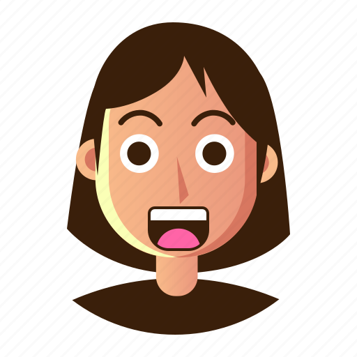 avatar, emoticon, people, shock, smiley, user, woman icon
