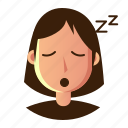 avatar, emoticon, people, sleepy, smile, user, woman icon