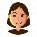 avatar, emoticon, hestitate, people, smiley, user, woman icon